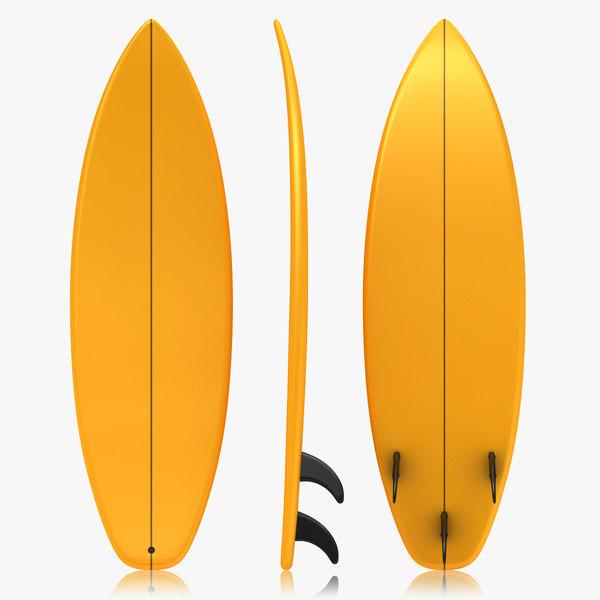 realistic surfboard orange 3d 3ds