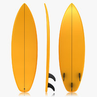 realistic surfboard orange 3d 3ds