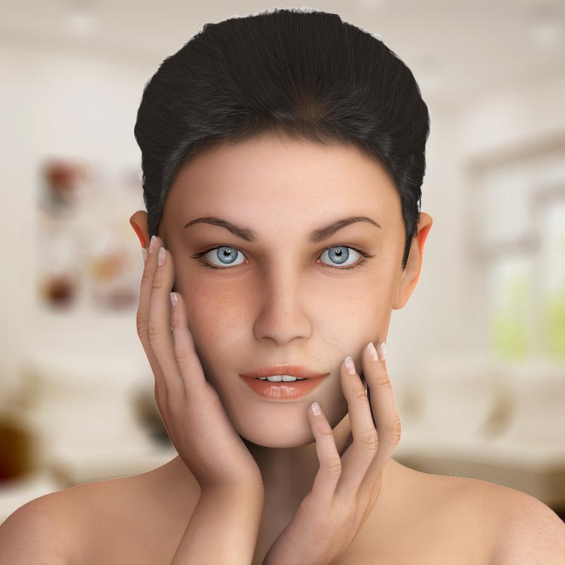 jane realistic female woman 3d max