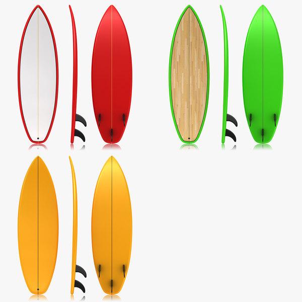 obj realistic surfboard set 3