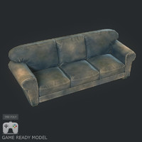 Low poly old sofa