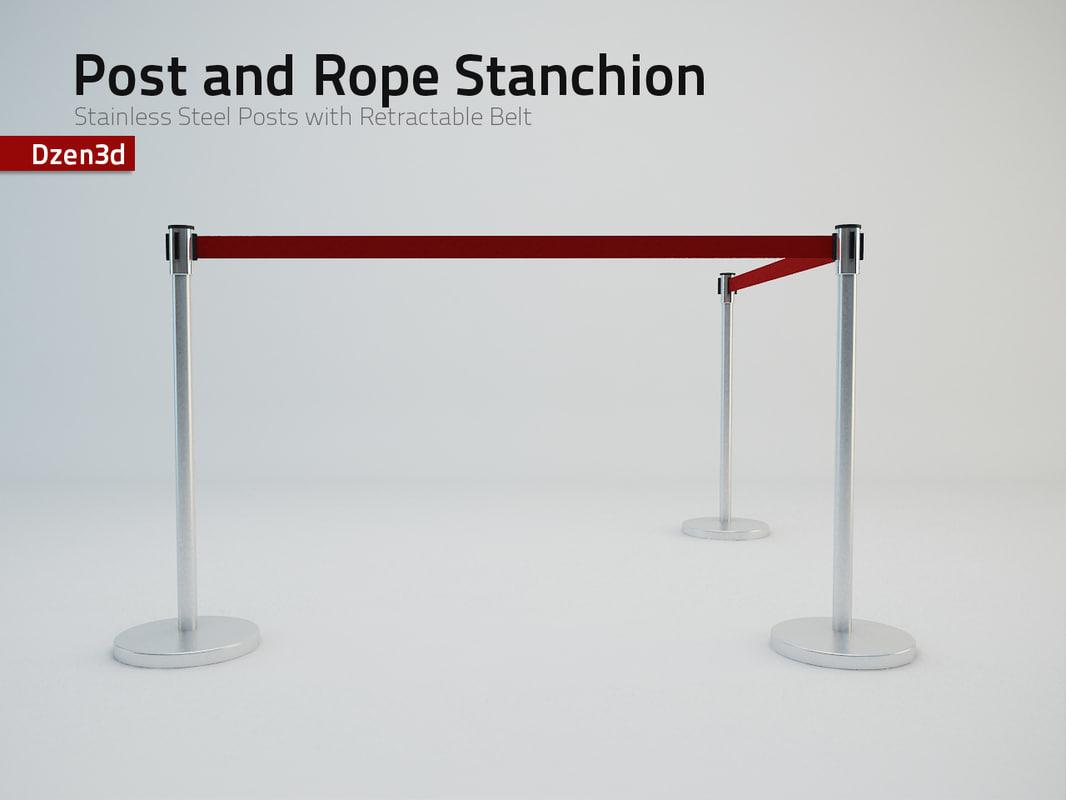 3d model stanchion post retractable belt