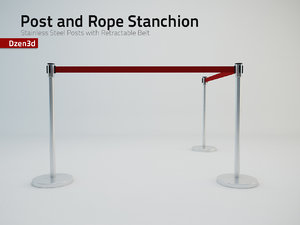 3d model stanchion post retractable belt