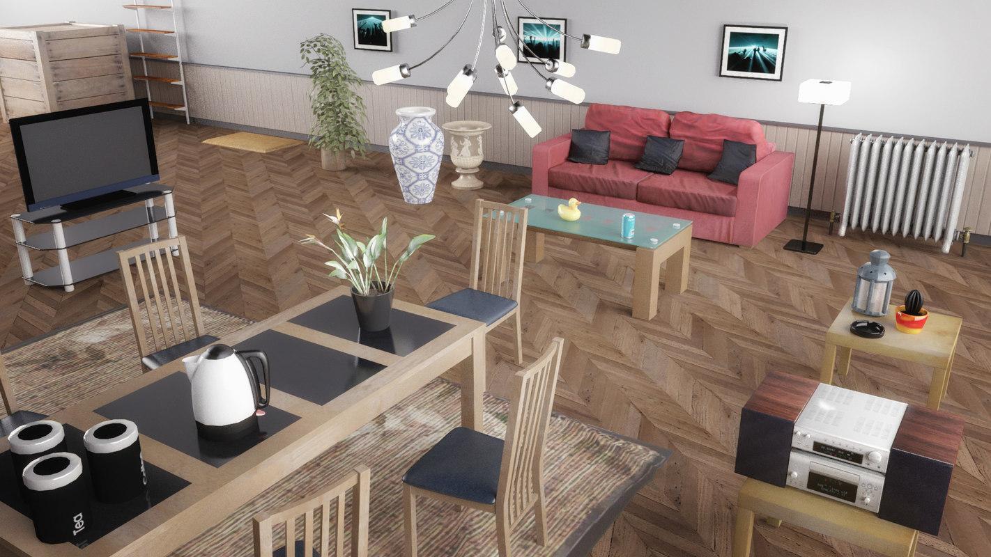 props interior wooden table 3d model