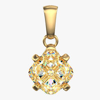single diamond necklace 3d model