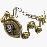 3d steampunk jewelry bracelet modeled