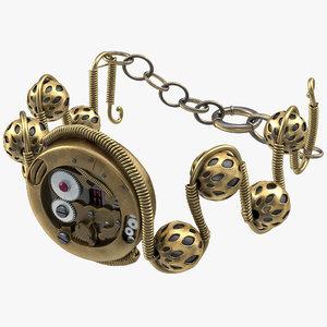 3d steampunk jewelry bracelet modeled