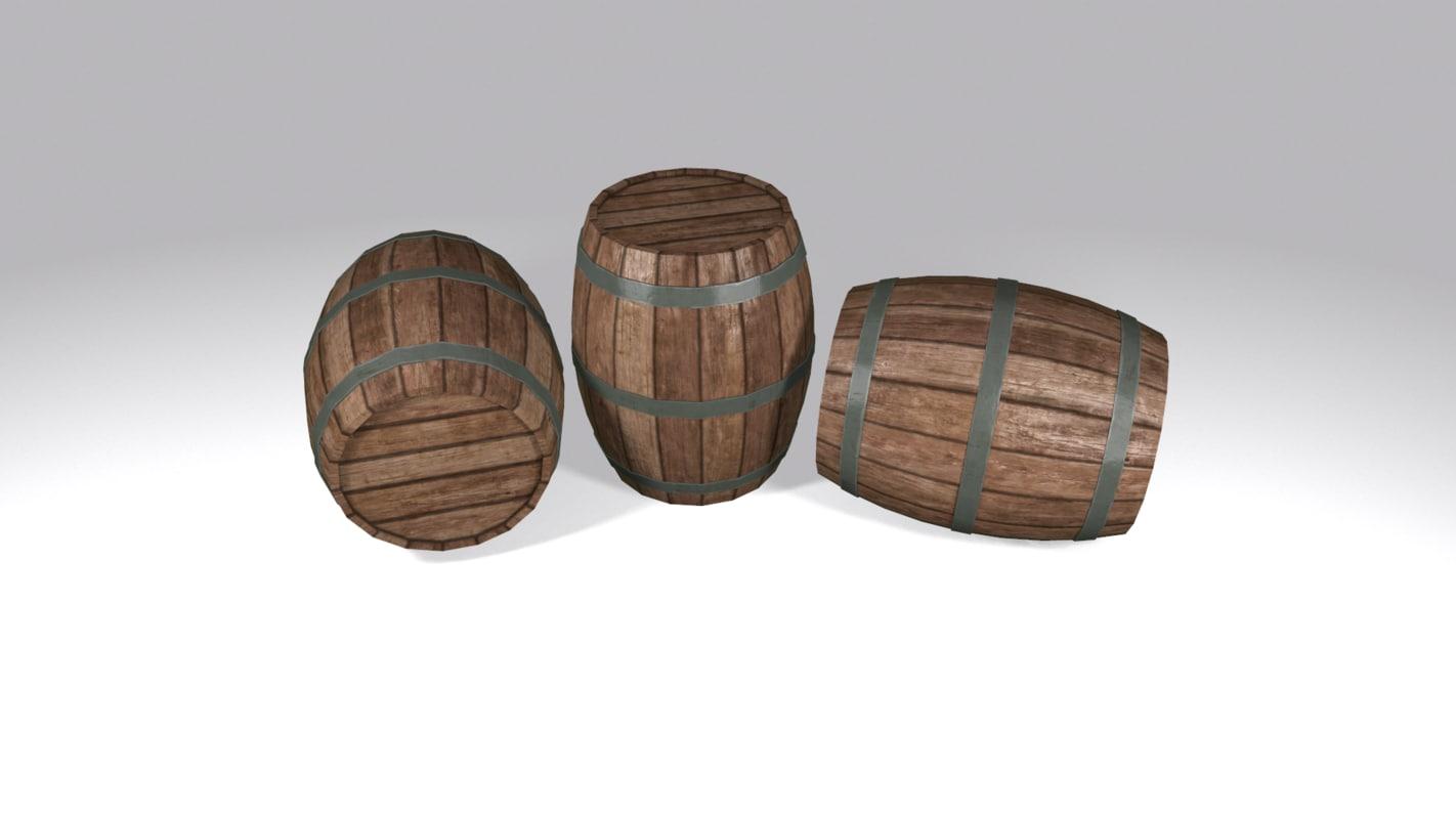 3d model ready wooden barrel