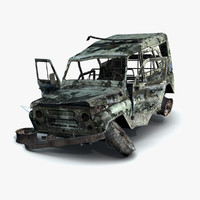 3d model damaged uaz-3151 police burnt