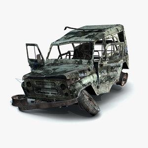 3d model damaged uaz-3151 police burnt