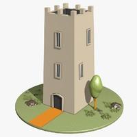 3d model cartoon tower