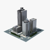 3d model city block scene cityscape