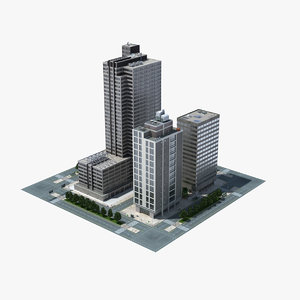3d model city block scene cityscape