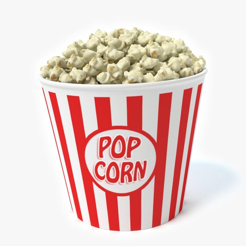 3d model bucket popcorn