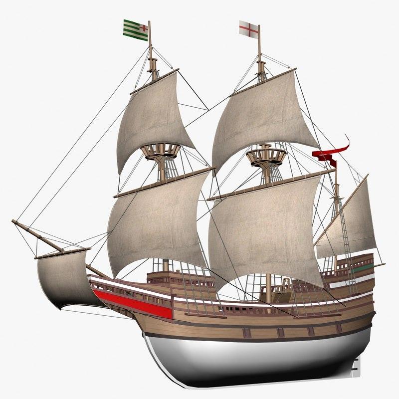 galleon mayflower 3d model