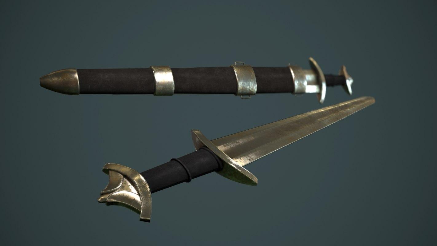 medieval sword 2 3d model