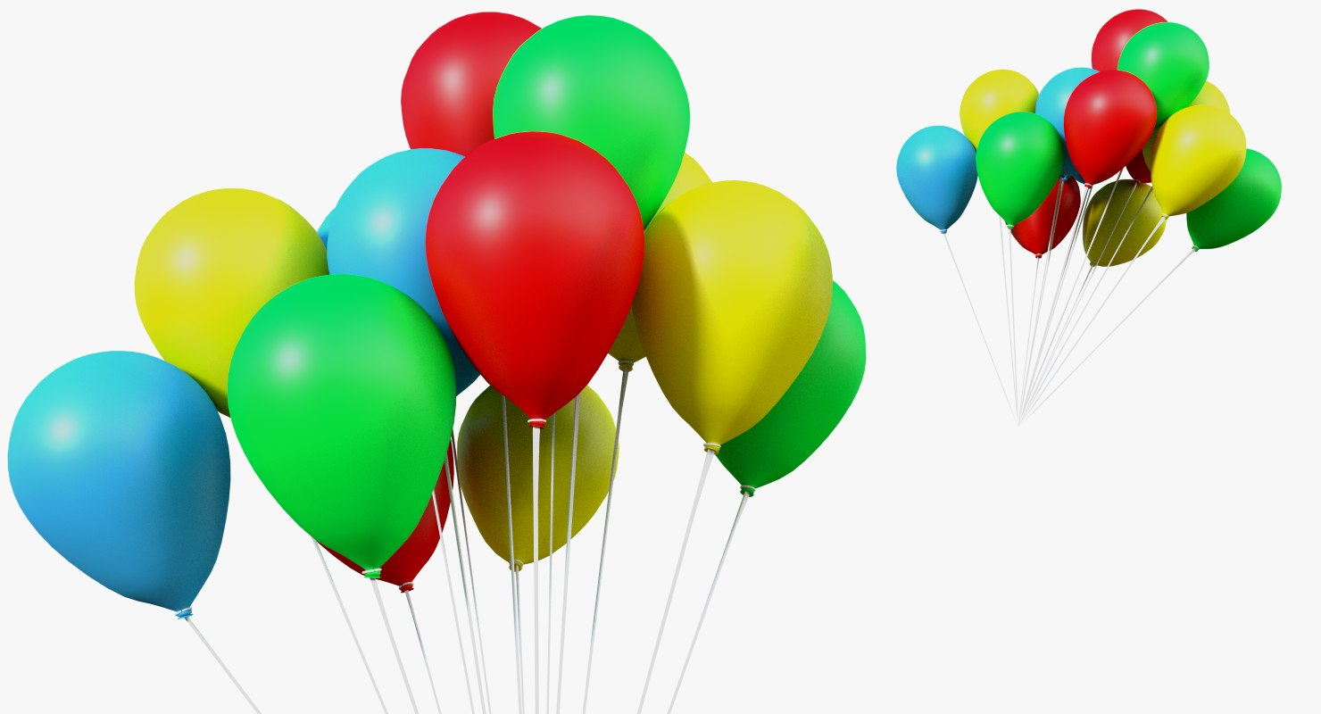 3d model group balloons