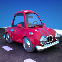 3d model animation red cartoon sedan
