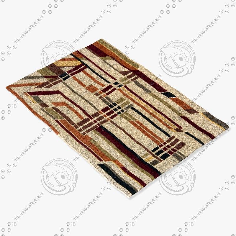 momeni rugs abstract el09blk 3d model