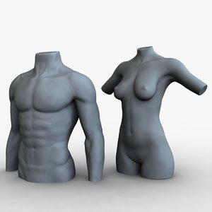 3d male female mannequins