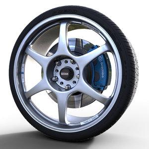 3d model 5zigen proracer gn rim wheel