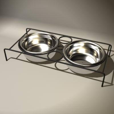 bowls food dog 3d model
