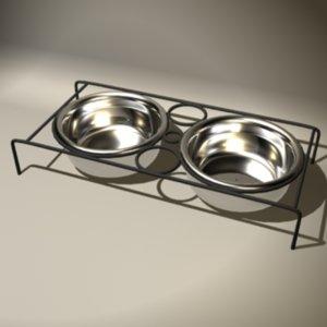 bowls food dog 3d model