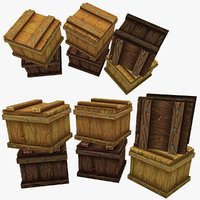 Low Poly stylized wooden boxes Set 1