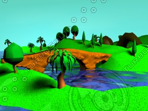 3d terrain cartoon trees model