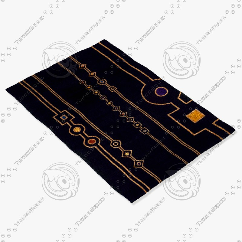 momeni rugs abstract nw101blk 3d obj