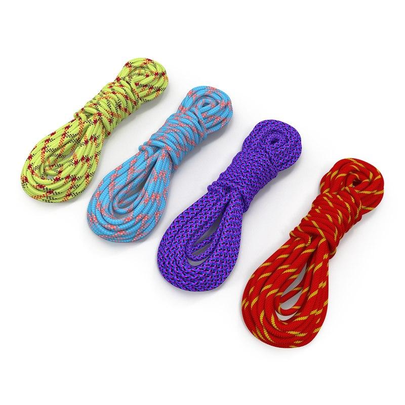 3d model rock climbing ropes set