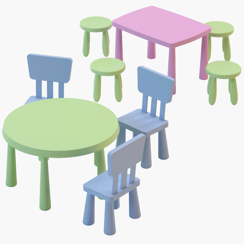 ikea mammut chair tables 3d model