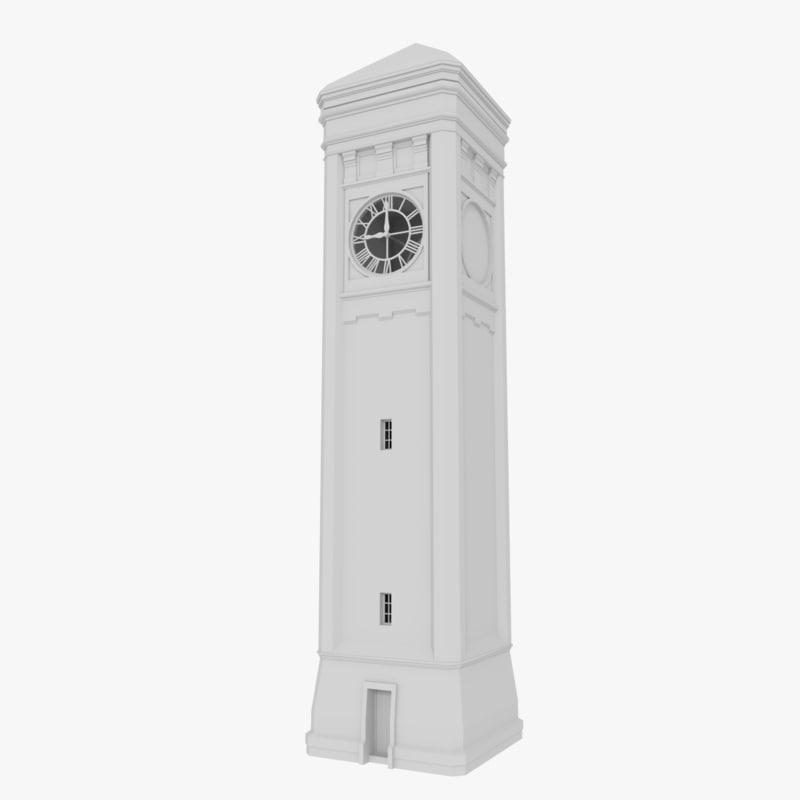 3d clock tower interior exterior model
