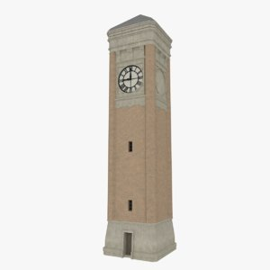 3d clock tower interior exterior