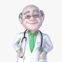 Rigged Cartoon Old Man Doctor