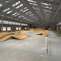 3d max skate park warehouse interior