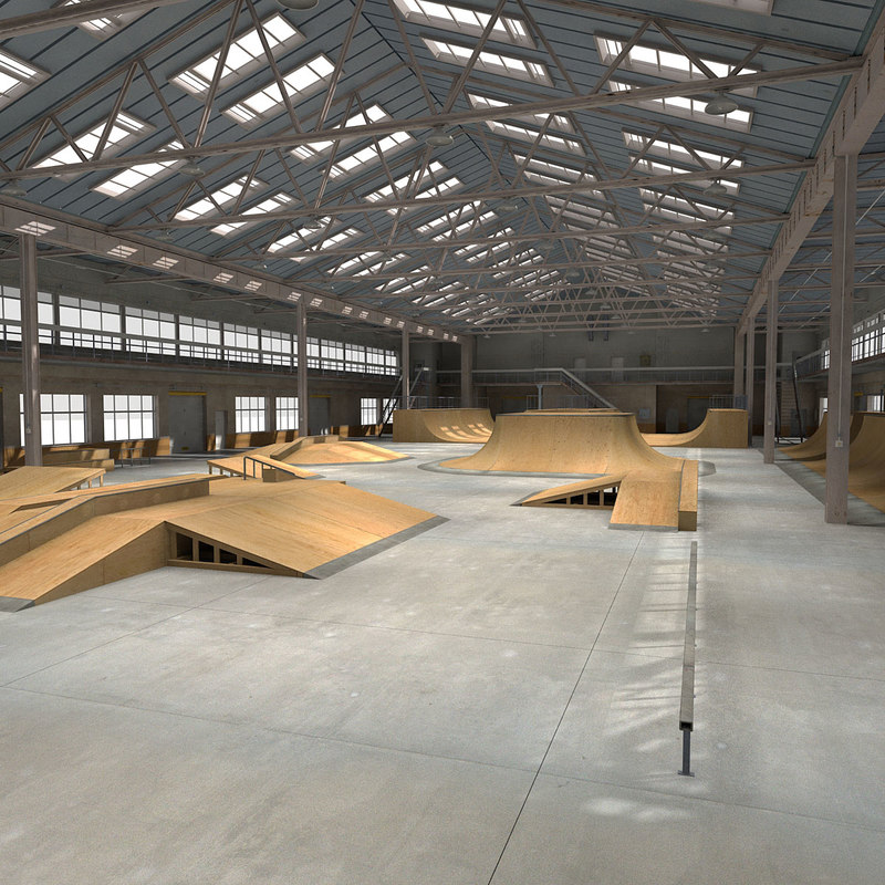 3d max skate park warehouse interior