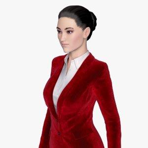 rigged female business suit 3d obj