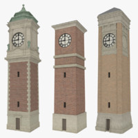Clock tower pack with interiors textured