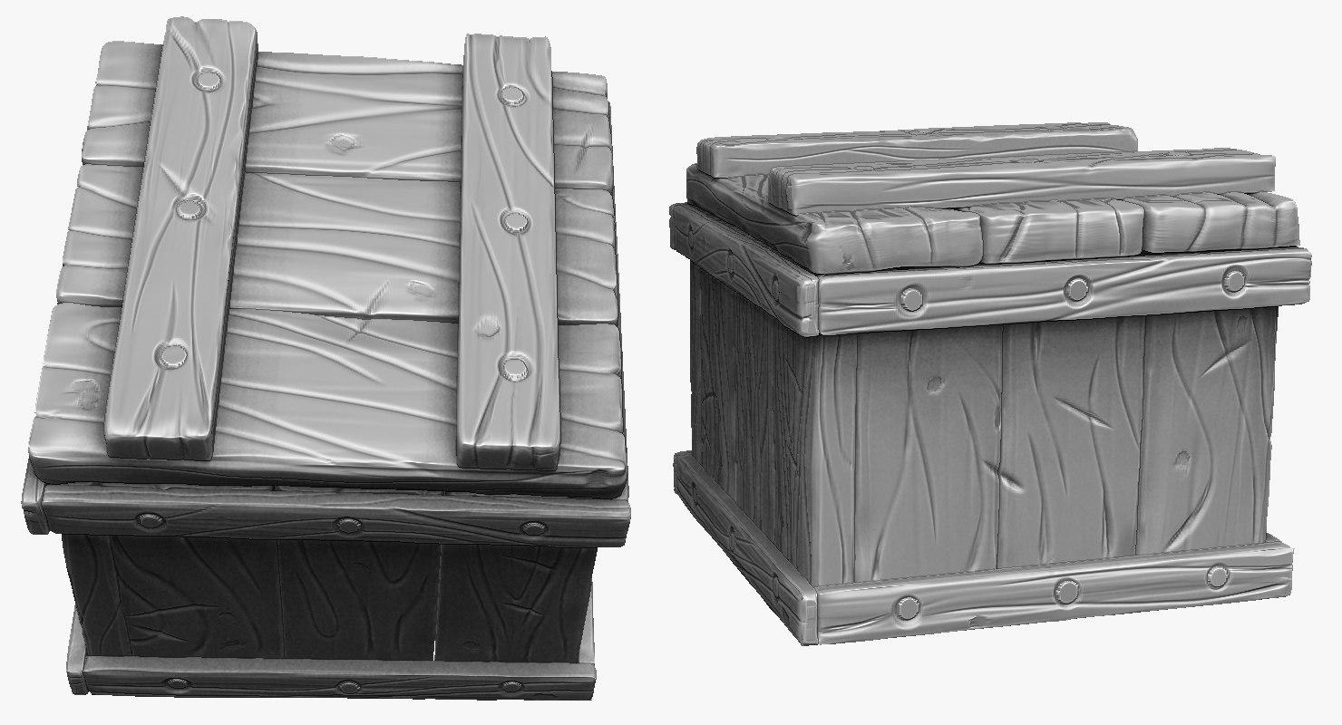 sculpt stylized wooden box 3d model