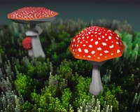 3d model cartoonish amanita