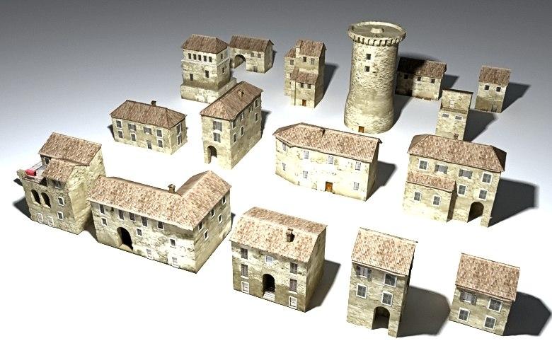 3d medieval houses borgo medievale