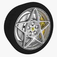 sport wheel tire brake disk 3d model