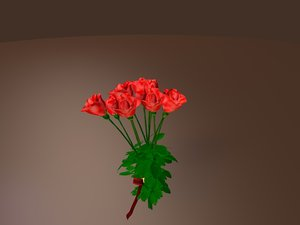 3d red roses bouquet