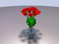 3d glass vase red roses