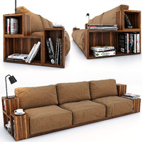 sofa books magazines 3d model