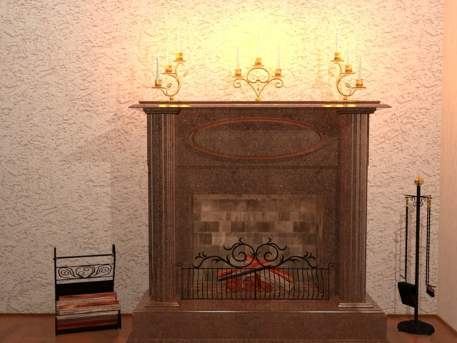 home fireplace 3d max