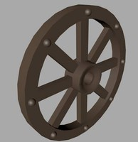 Low Poly Wagon cart chariot wooden Wheel