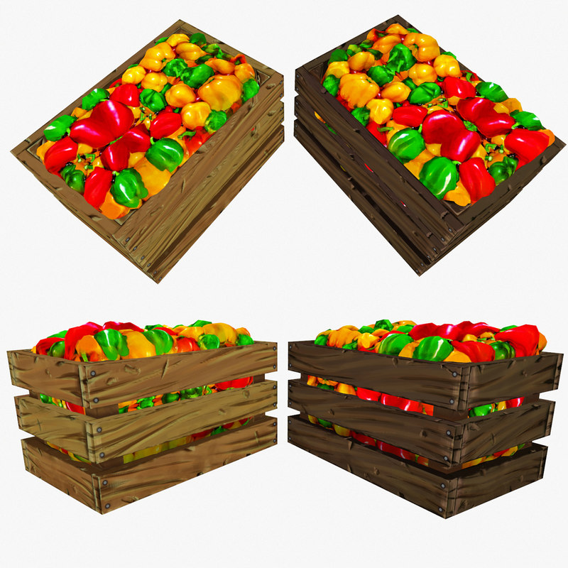 crate peppers polys 3d obj