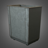 Metal Vintage Trashcan - Game Ready